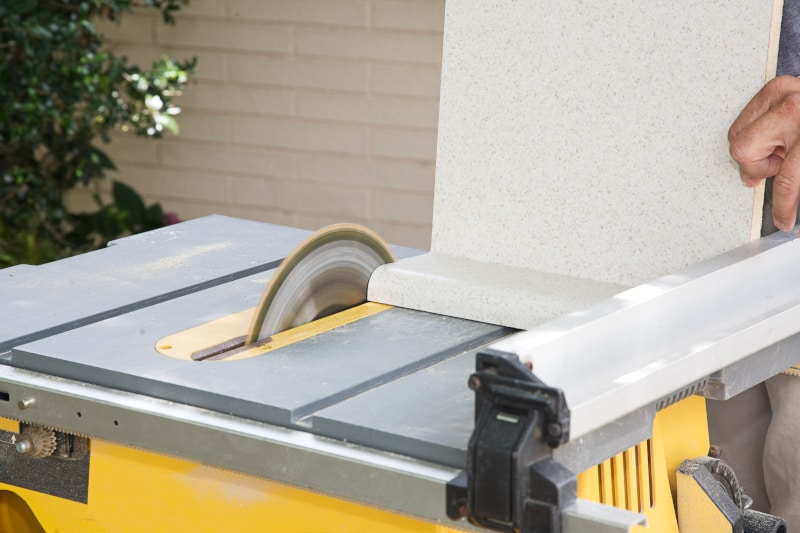 Table Saw Trimming a Countertop